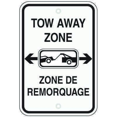 Bilingual Parking Signs - Tow Away Zone (With Graphic)