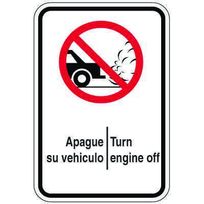 Bilingual Parking Signs - Turn Engine Off (With Graphic)