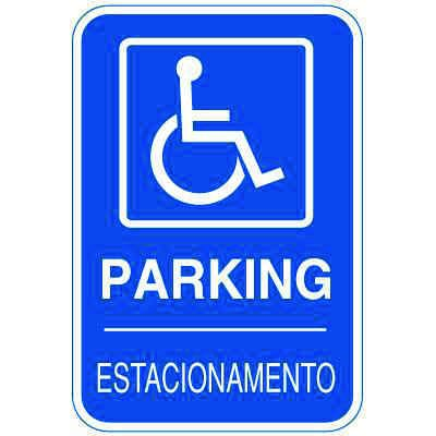 Bilingual Parking Signs - Parking with Handicapped Parking Symbol