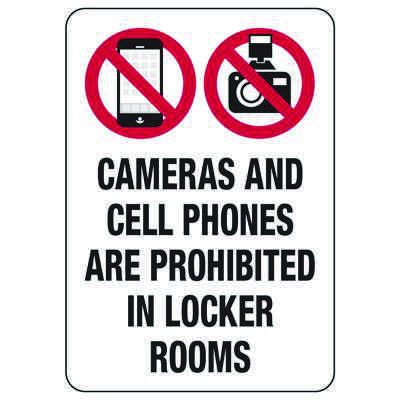 Cameras And Cell Phones Are Prohibited - Locker Room Signs