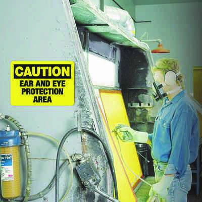 Caution Ear And Eye Protection Area - Machine Safety Signs