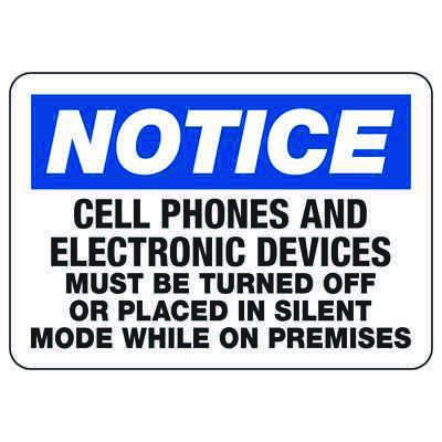 Cell Phones Must Be Off Or Silent - Cell Phone Signs
