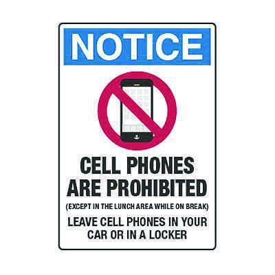 Cell Phones Are Prohibited Leave Cell Phones In Car - Cell Phone Policy Signs