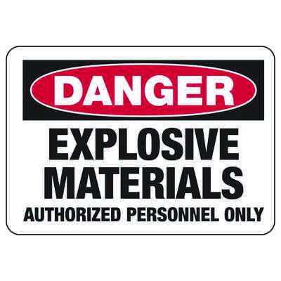 Chemical Signs - Danger Explosive Materials