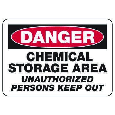 Danger Chemical Storage Area - Industrial Chemical Warning Sign