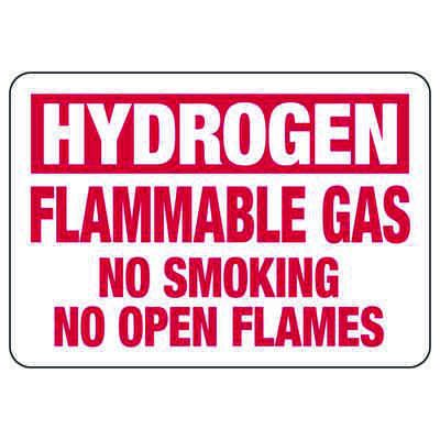 Hydrogen Flammable Gas No Smoking - Chemical Warning Sign