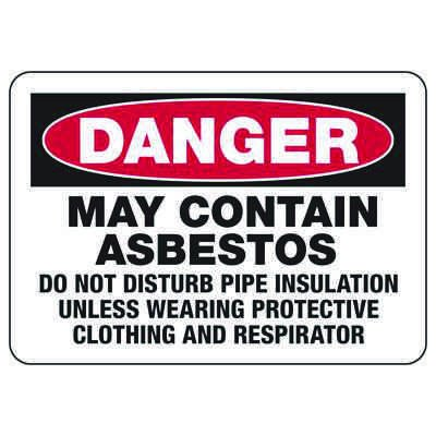 Danger May Contain Asbestos - Industrial Chemical Warning Sign