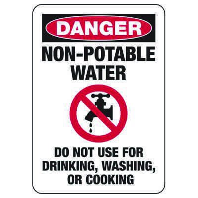 Danger Non-Potable Water - Industrial Chemical Warning Sign