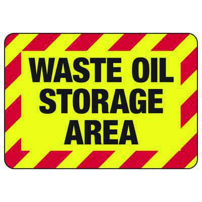 Waste Oil Storage Area - Industrial Chemical Warning Sign