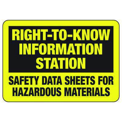 Right To Know Information - Industrial Chemical Warning Sign