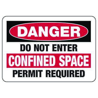 Confined Space Signs - Danger - Do Not Enter Permit Required