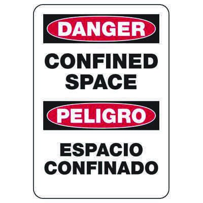 Bilingual Danger Confined Space - Industrial Confined Space Sign