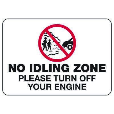 No Idling Zone Please Turn Off Engine - Conserve Energy And LEED Signs