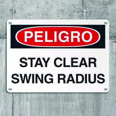 Crane Safety Signs - Danger Stay Clear Swing Radius