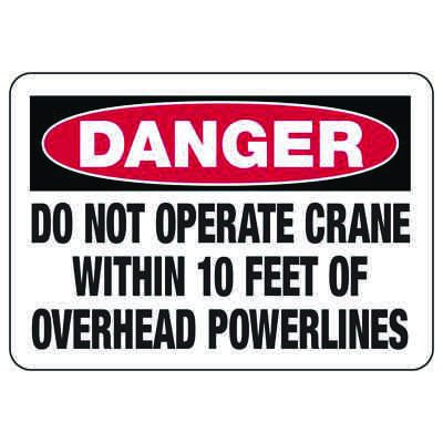Crane Safety Signs - Danger - Do Not Operate