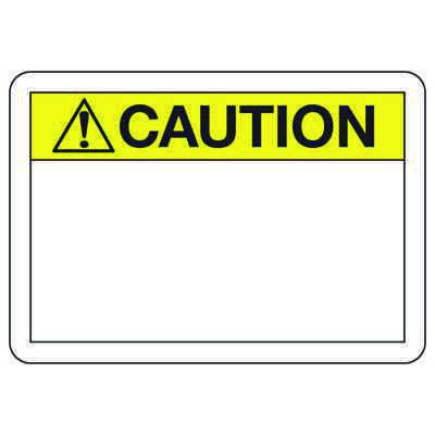 Caution Header Write On Blank Signs