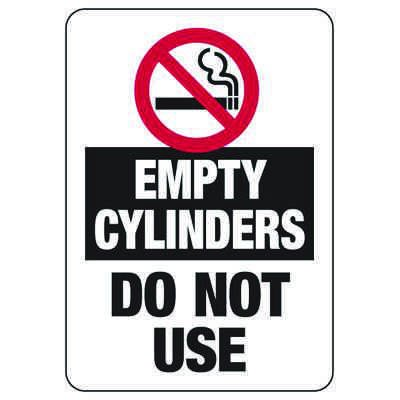 Empty Cylinders Do Not Use - w/ No Smoking Graphic