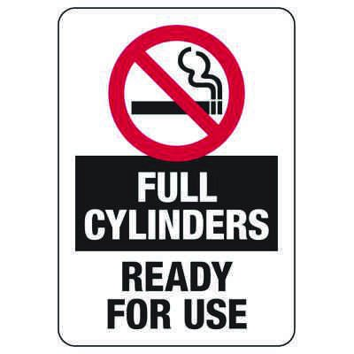 Full Cylinders (No Smoking Graphic) - Industrial Cylinder Sign