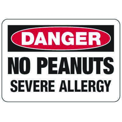 Danger No Peanuts Severe Allergy - Food Allergy Signs