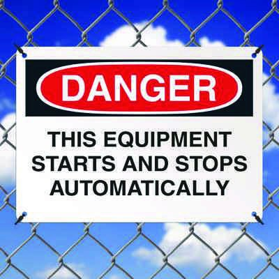 Danger Signs - This Equipment Starts And Stops Automatically