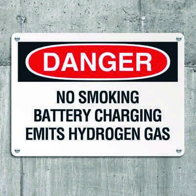 Danger Signs - No Smoking Battery Charging Emits Hydrogen Gas