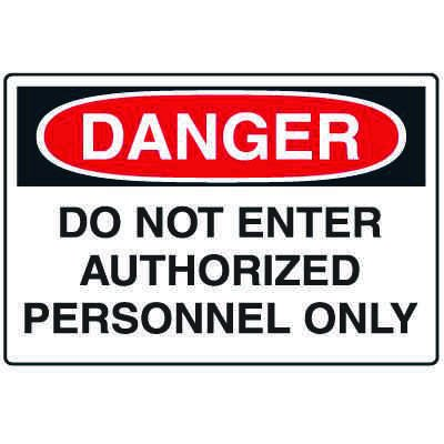 Disposable Plastic Corrugated Signs - Danger Do Not Enter Authorized Personnel Only