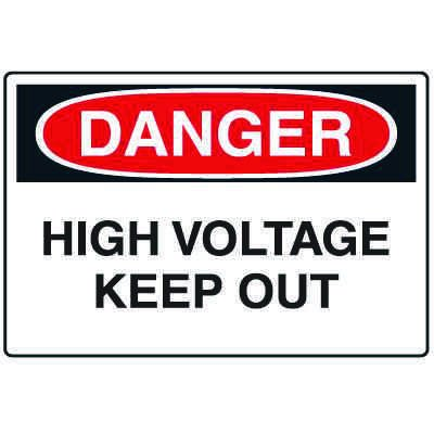 Disposable Plastic Corrugated Signs - Danger High Voltage Keep Out