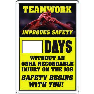 Dry Erase Safety Tracker Signs - __ Days Without OSHA Recordable Injury