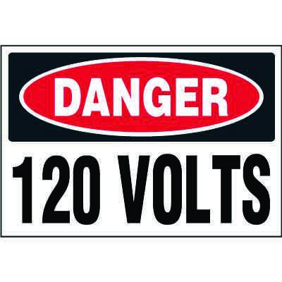Electrical Safety Labels On-A-Roll - Danger 120 Volts