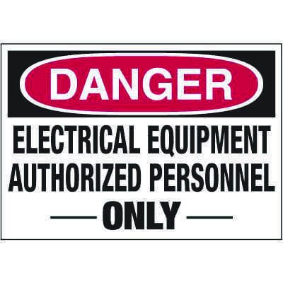 Electrical Warning Labels - Danger Electrical Equipment