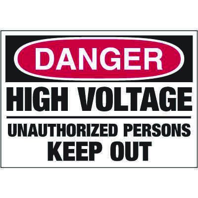 Electrical Warning Labels - Danger High Voltage Unauthorized Persons