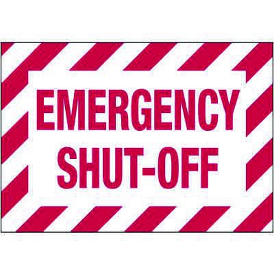 Electrical Warning Labels - Emergency Shut-Off