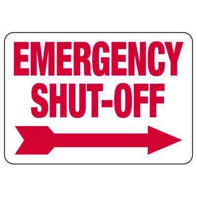 Emergency Shut-Off with Right Arrow Fire Sprinkler Control Signs