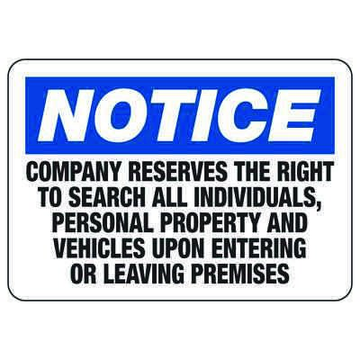 Company Reserves The Right To Search - Employee and Visitor Signs