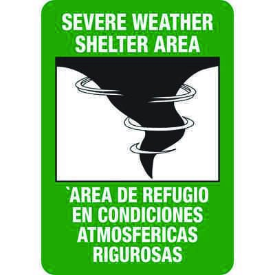 Severe Weather Shelter Area / Area De Refugio Evacuation Signs