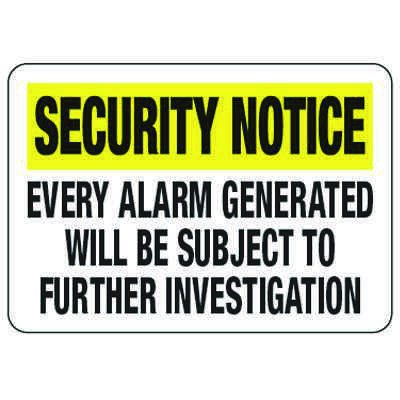 Every Alarm Generated - Metal Detector Inspection Signs