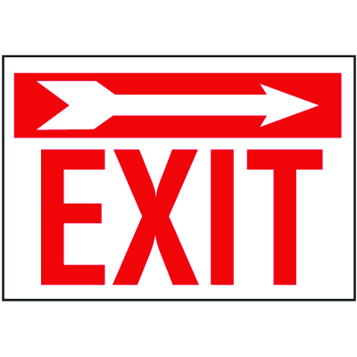Exit Signs with Right Facing Arrow
