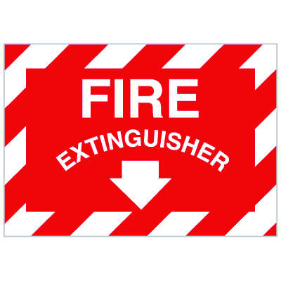 Fire Extinguisher Signs with Downward Facing Arrow
