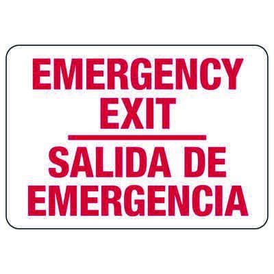 Bilingual Fire And Exit Signs - Emergency Exit