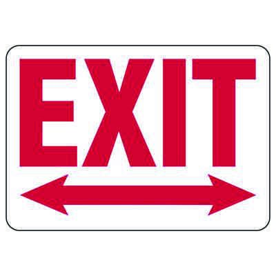 Exit & Fire Equipment Signs - Exit with Dual Arrow