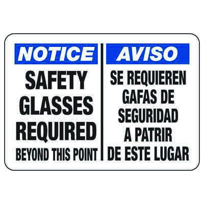 Bilingual Notice Safety Glasses Required Beyond - PPE Sign