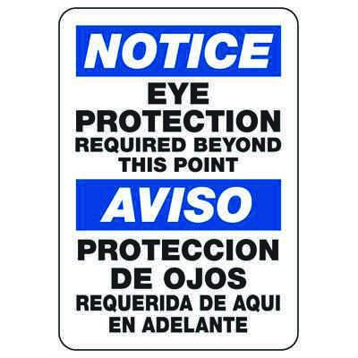 Bilingual Notice Eye Protection Required Beyond This Point - PPE Sign