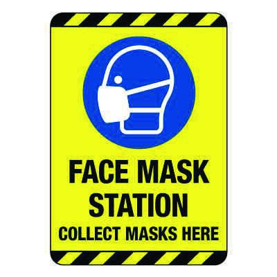 Face Mask Station Construction Site Sign