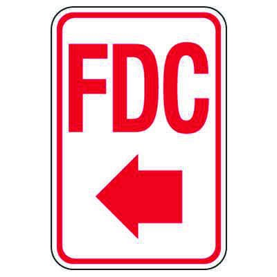 Fire Department Connection Sign: FDC (With Left Arrow)