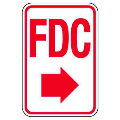 Fire Department Connection Sign: FDC (With Right Arrow)