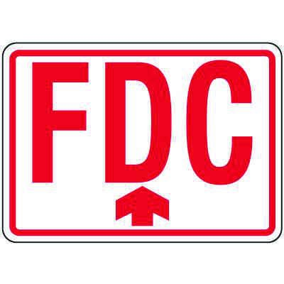 Fire Department Connection Sign: FDC (With Upward Arrow)