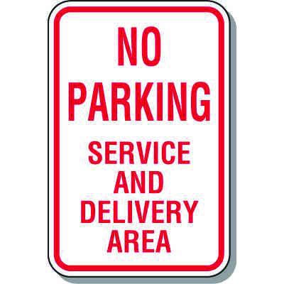 Fire Lane Signs - No Parking Service And Delivery Area