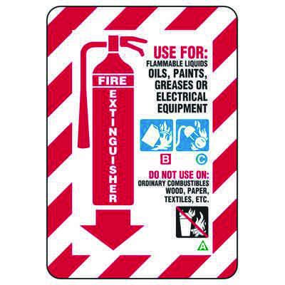 Fire Extinguisher Use For Flammable Liquids - Fire Safety Signs