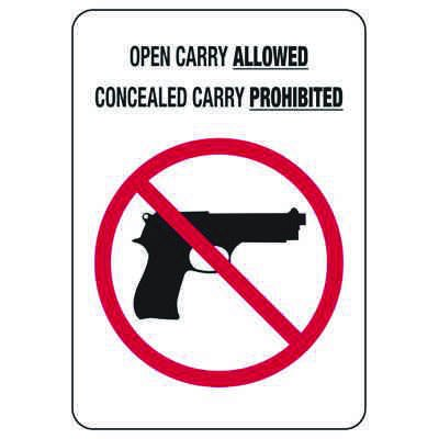 Open Carry Allowed W/ Gun Graphic - Policy Sign