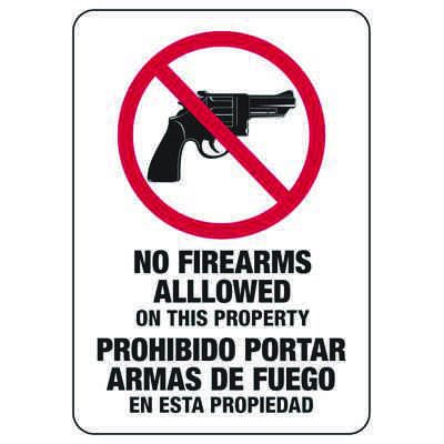 No Firearms Allowed On This Property - Bilingual Firearm Safety Signs